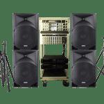 PA Anlage mit PA-Lautsprecher und Stativen mieten, Boxen, Rednerpult mieten, Podest leihen