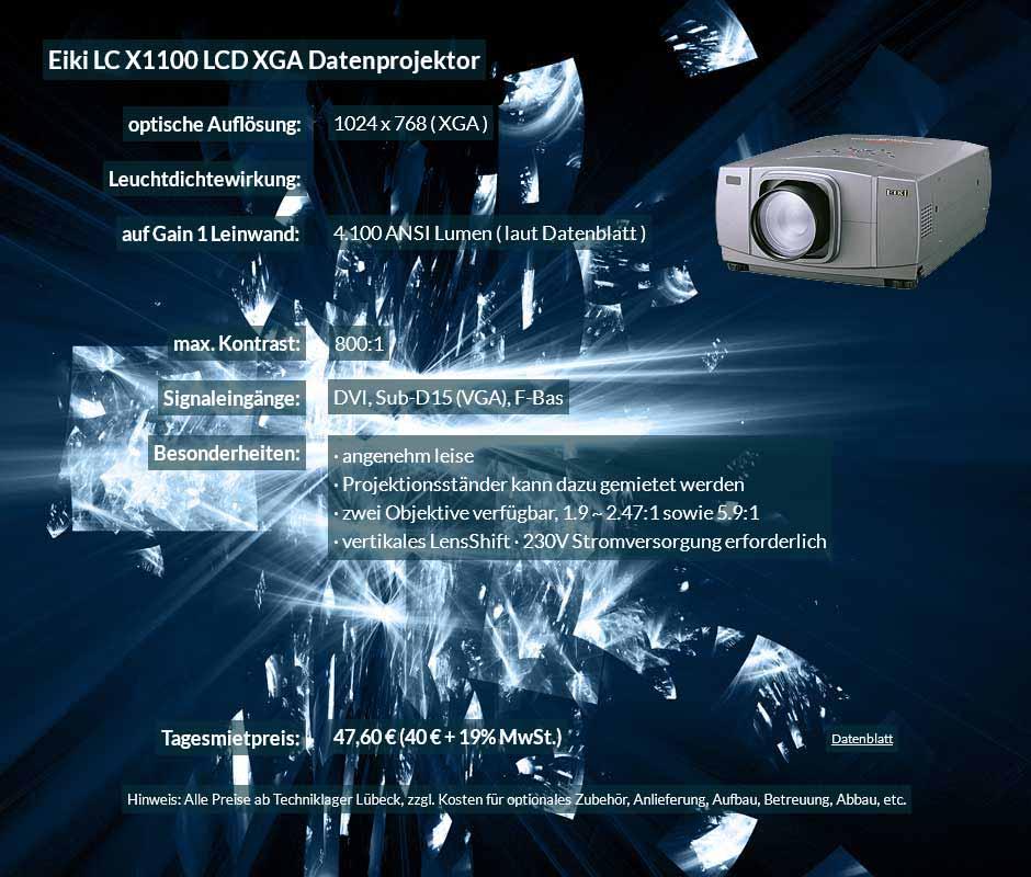 Datenprojektorverleih Offerte für Eiki X1100 LCD XGA Datenprojektor zu einem Mietpreis je Tag von 40 Euro + Mehrwertsteuer