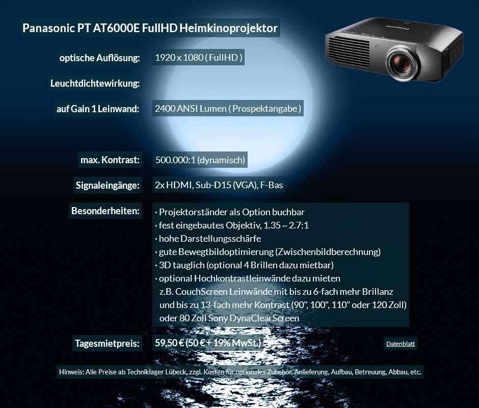 Verleihangebot zum Projektor Ausleih Panasonic PT AT6000E Heimkinobeamer zum Tagesmietpreis von 70 Euro + Mehrwertsteuer