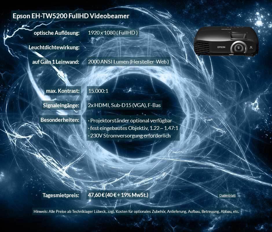 Angebot zur Projektor Ausleihe Epson TW5200 FullHD Heimkinoprojektor zum Tagesmietpreis von 40 Euro + Mehrwertsteuer