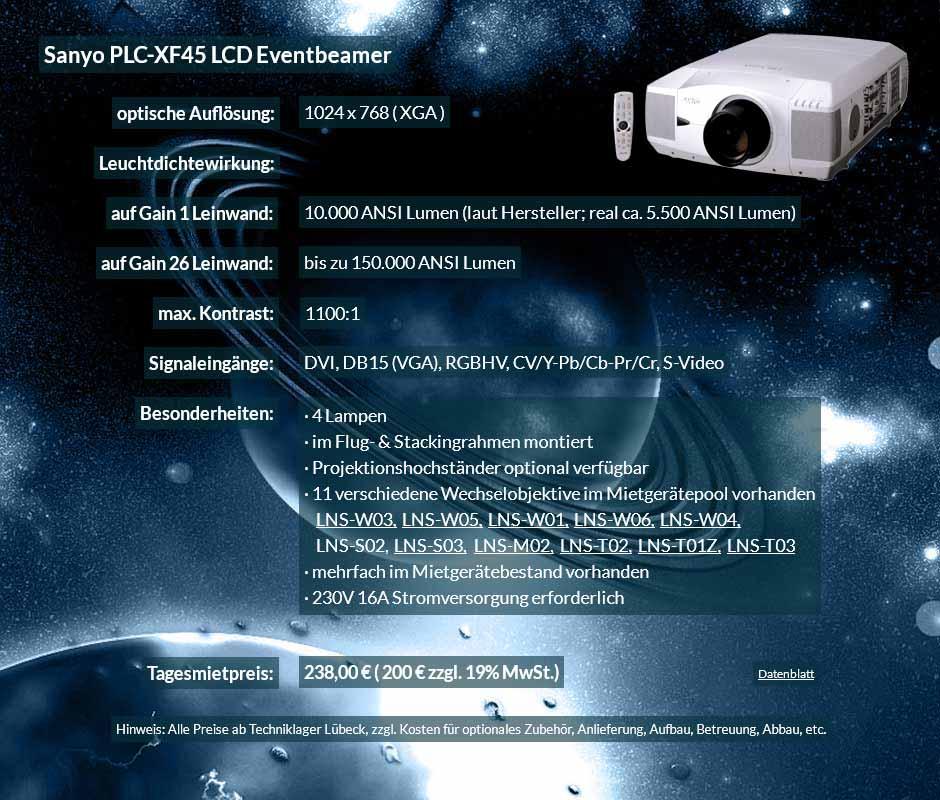 Annonce für Projektorvermietung 10.000 ANSI Lumen LCD XGA Eventprojektor Sayno PLC XF 45 für 250 Eur zzgl. MwSt. inkl. Wechselobjektiv zur Auswahl LNS-W03, LNS-W05, LNS-W01, LNS-W06, LNS-W04, LNS-S02, LNS-S03, LNS-M01, LNS-M02, LNS-T02, LNS-T01