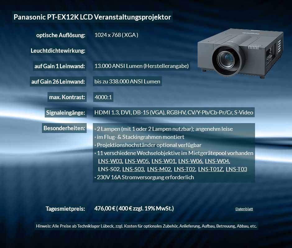 Anzeige für Projektormiete XGA Veranstaltungsprojektor mit 13.000 ANSI Lumen für 400 € zzgl. MwSt. inkl. Wechselobjektiv zur Auswahl LNS-W03, LNS-W05, LNS-W01, LNS-W06, LNS-W04, LNS-S02, LNS-S03, LNS-M01, LNS-M02, LNS-T02, LNS-T01