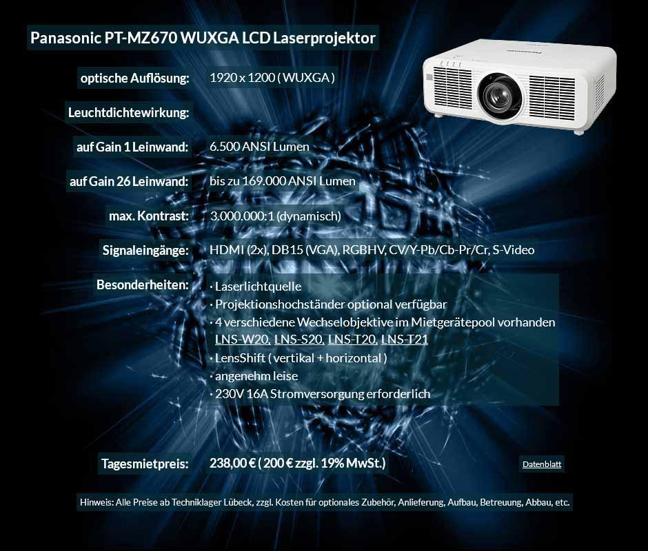 Projektorvermietung Panasonic PT MZ670