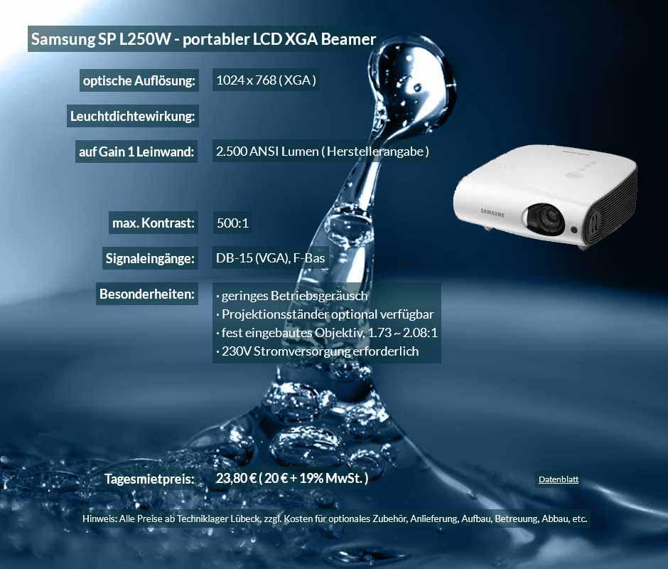 Inserat für das Ausleihen eines DV Projektors Samsung SP L250W zu einem Mietpreis je Tag von 20 Euro + Mwsteuer