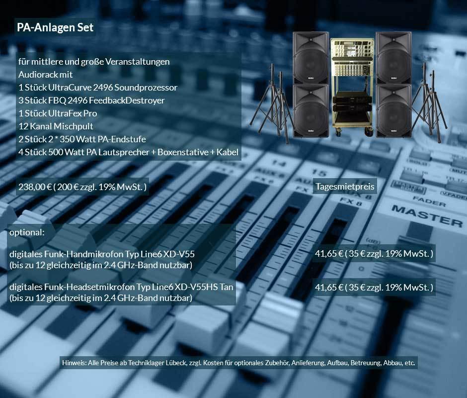 PA Anlage mit PA Lautsprecherboxen, PA Verstärker, Mischpult, Rückkopplungsdämpfer, Soundprozessor, Klangoptimierer, Lautsprecherstativen, Kabelset ab 20 € netto täglich