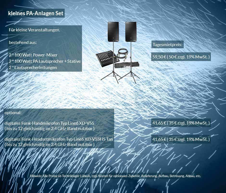 Vermietofferte kleine PA Anlage mit Lautsprecher, Powermixer, Boxenstative, Kabelset ab 50 € netto täglich