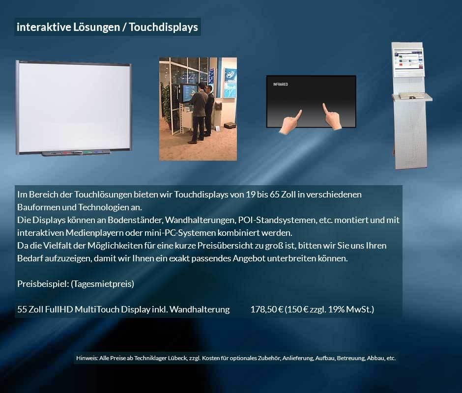 Ausleihofferte für interaktive Lösungen und Touchdisplays mit Tagesverleihpreisen ab 150 € netto