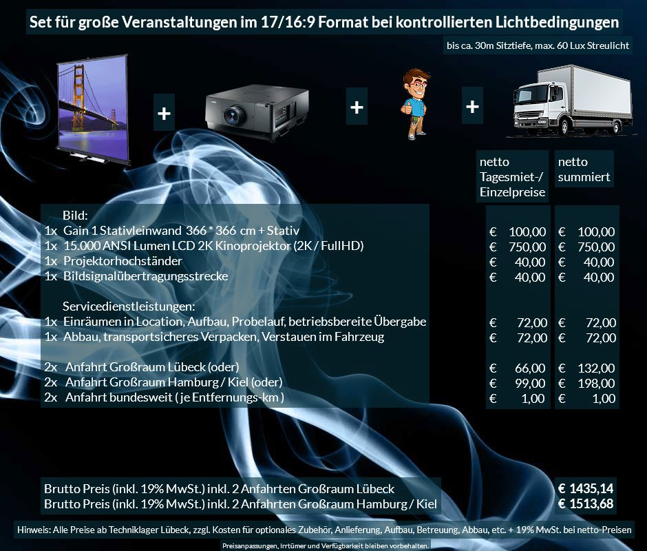 17:9 bzw. 16:9 Veranstaltungstechnik Mietangebot 2K / FullHD Projektor 15000 ANSI Lumen + 366x366cm Gain 1 Stativleinwand + Anlieferung Aufbau Übergabe Abbau Rücktransport
