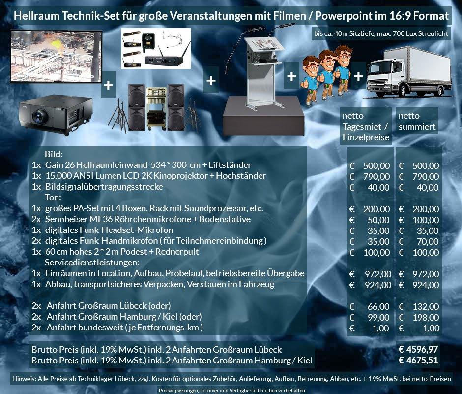 16:9 Veranstaltungstechnik Mietangebot 2K / FullHD Projektoren 15000 ANSI Lumen + 534x300cm Gain 26 Hellraumleinwandleinwand + PA Anlage mit Mikrofonen + Rednerpult + 2x2m Podest + Anlieferung Aufbau
