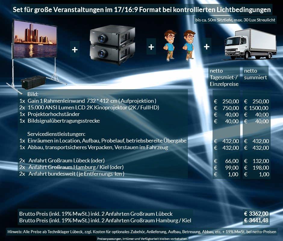 16:9 Veranstaltungstechnik Mietangebot 2K / FullHD Projektoren 30000 ANSI Lumen + 732x412cm Gain 1 Faltrahmenleinwand + Anlieferung Aufbau Übergabe Abbau Rücktransport