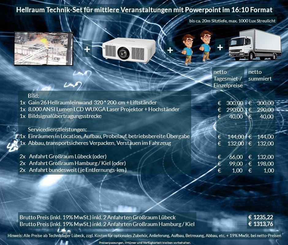 16:10 Veranstaltungstechnik Mietangebot WUXGA LCD Laser Projektor 6500 ANSI Lumen + 320x200 cm Gain 26 Hellraumleinwand + Anlieferung Aufbau Übergabe Abbau Rücktransport