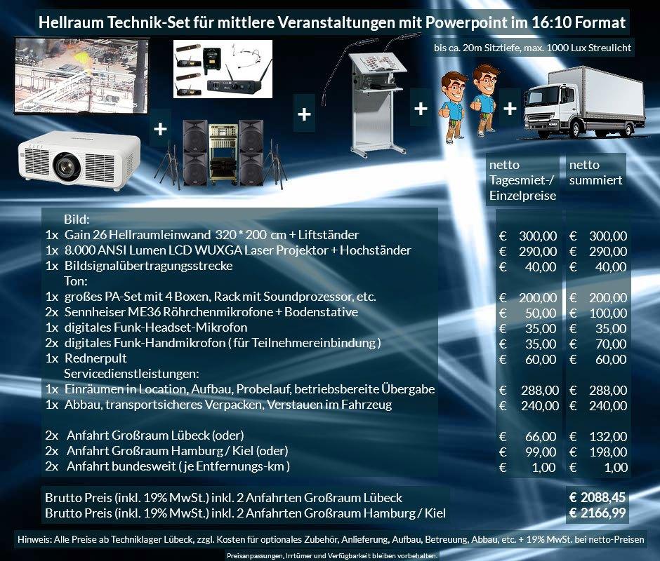 16:10 Veranstaltungstechnik Mietangebot WUXGA LCD Laser Projektor 6500 ANSI Lumen + 320x200 cm Gain 26 Hellraumleinwand + PA Anlage + Mikrofone + Rednerpult + Anlieferung Aufbau Übergabe Abbau Rücktransport