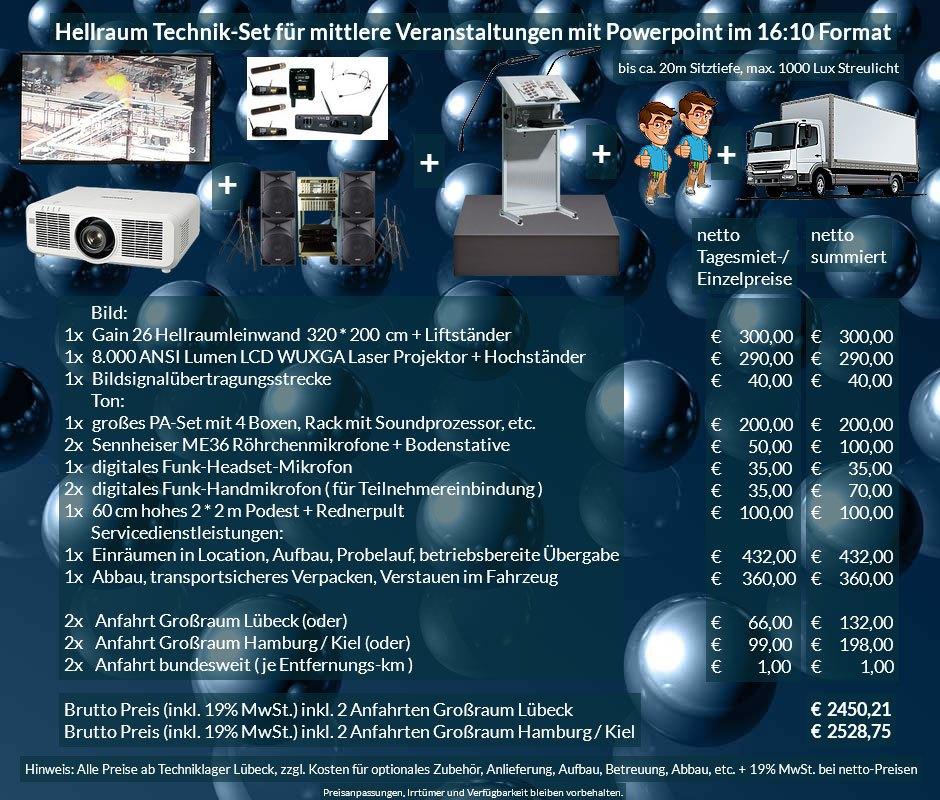16:10 Veranstaltungstechnik Mietangebot WUXGA LCD Laser Projektor 6500 ANSI Lumen + 320x200 cm Gain 26 Hellraumleinwand + PA Anlage + Mikrofone + Rednerpult + Podest + Anlieferung Aufbau Übergabe Abbau Rücktransport