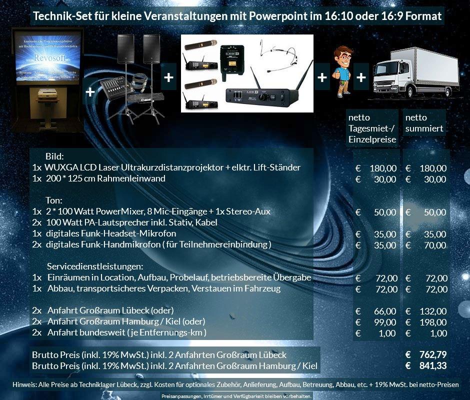 16:10 Veranstaltungstechnik Mietangebot WUXGA LCD Laser Ultrakurzdistanzprojektor 4000 ANSI Lumen + 200x125 cm Rahmenleinwand + PA Anlage mit Mikrofonen + Anlieferung Aufbau Übergabe Abbau Rücktransport