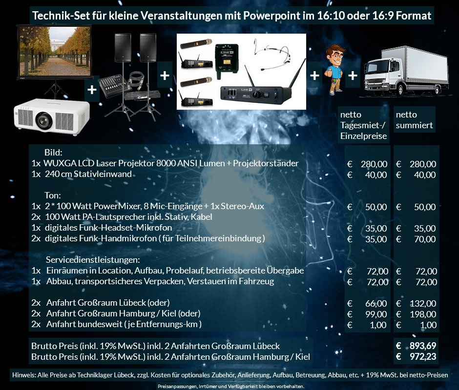 16:10 Veranstaltungstechnik Mietangebot WUXGA LCD Laser Projektor 6500 ANSI Lumen + 240x240cm Stativleinwand + PA Anlage mit Mikrofonen + Anlieferung Aufbau Übergabe Abbau Rücktransport