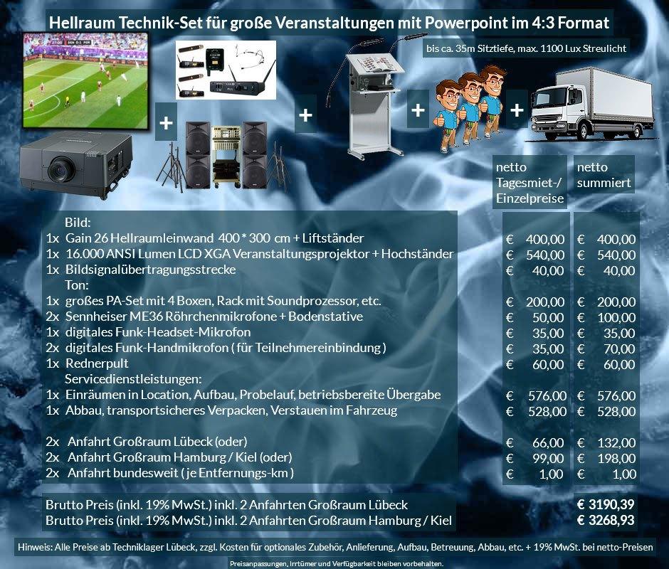 4:3 Veranstaltungstechnik-Mietangebot XGA Projektor 16000 ANSI Lumen + 400x300cm Gain 26 Hellraumleinwand + PA Anlage mit Mikrofonen + Rednerpult + Anlieferung Aufbau Übergabe Abbau Rücktransport
