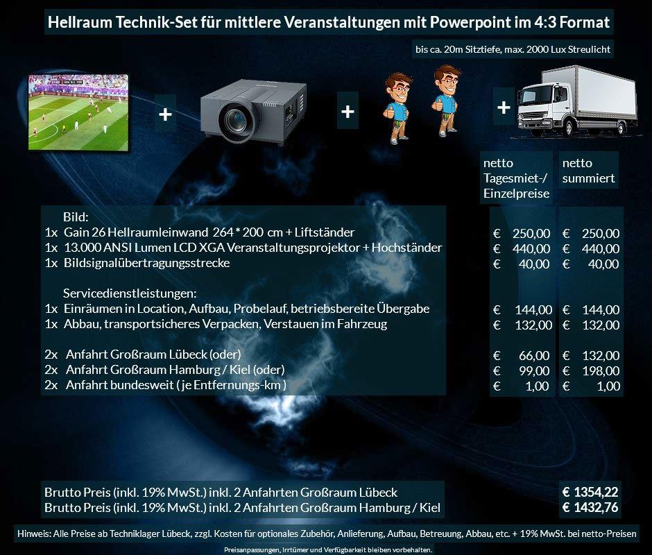 4:3 Veranstaltungstechnik-Mietangebot XGA Projektor 13000 ANSI Lumen + 264x200cm Gain 26 Hellraumleinwand + Anlieferung Aufbau Übergabe Abbau Rücktransport
