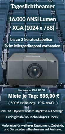 Angebot Beamervermietung 16.000 ANSI Lumen XGA Hochleistungsprojektor Panasonic PT EX16K