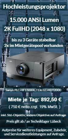 Angebot zur Ausleihe 2k 15000 ANSI Lumen Eventprojektor Sanyo HF15000L bzw. Eiki HDT-2000