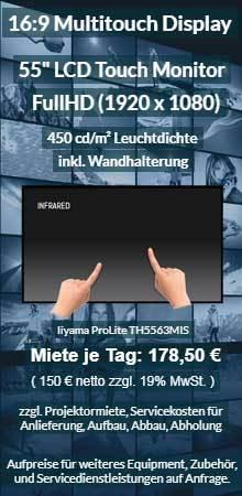 Angebot POI / POS Touchlösungen und Touchbildschirme zum Ausleihen für Messen und Ausstellungen