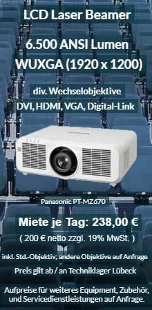 Angebot zum Leihen eines WUXGA Laser Projektor Panasonic PT MZ670