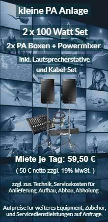 Tonanlagen Vermietung: kleines PA Set mit Lautsprecher, Powermixer, Boxenstativen, Kabel
